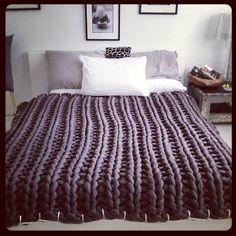 Knit or crochet a warm comforter this Winter with Tarn {T-shirt Yarn}.http://www.tarnsa.co.za/