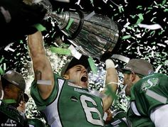 Saskatchewan Roughriders win Grey Cup after beating Hamilton Tiger . Saskatchewan Roughriders, Canadian Football League, Amazing Grays, Grey Cup, High Priest, Championship Game, Victorious, Nfl, Hamilton