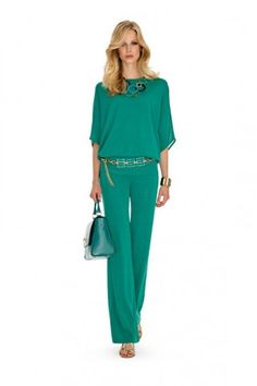 Blusa e pantalone verde - Top e pantalone verde smeraldo da cerimonia della collezione Luisa Spagnoli primavera/estate 2015