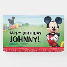 Shop Mickey Mouse Birthday Banner created by MickeyAndFriends. Personalize it with photos & text or purchase as is! Happy Birthday Parties, Happy Birthday Banners, Happy Party, Birthday Ideas, Birthday Gifts, Birthday Stuff, Birthday Celebrations, Birthday Bash, Mickey Mouse Clubhouse Birthday