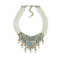 """Shop Heidi Daus """"It's Good to be Queen"""" 3-Row Simulated Pearl Crystal-Accented Bib Drop Necklace at HSN mobile"""