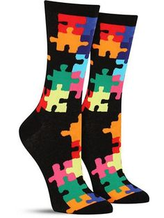 Crazy novelty Puzzle socks for women, in black