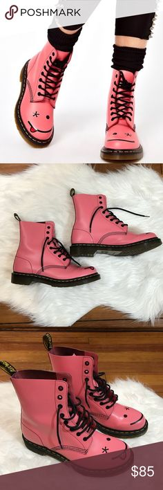 Dr. Martens Hincky Acid Pink Smiley Eye Boot Quirky & unique Dr. Martens Hincky Pink Acid Boots w Simley. Size US 10. In great condition, please see photos which show slight wear on boots. Originally $180. Open to reasonable offers. Bundle your likes and I'll send you an extra discounted offer. Dr. Martens Shoes Combat & Moto Boots