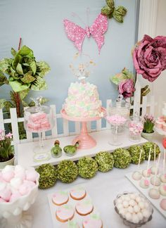 Fairy Garden 3rd Birthday Party pretty tablescape
