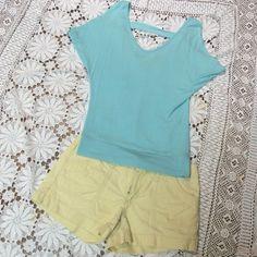 PALE TURQUOISE COLD SHOULDER BLOUSE Cute cold shoulder blouse.  Gently used. T-1 Tops Blouses