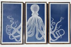 Triptych Octopus Piece laser engraved on blue acrylic, hand made and stained frames.