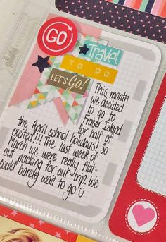Cute way to embellish journal card. Love the cluster of banners and stickers.