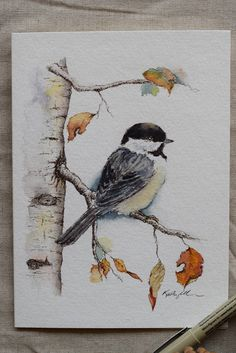 Little Chickadee Fall Leaves Holiday Christmas Card watercolor card-Prints - Petite carte de Noël vacances feuilles automne Mésange aquarelle carte-impressions Sie sind an der - Art Watercolor, Watercolor Animals, Simple Watercolor, Watercolor Portraits, Watercolor Landscape, Watercolor Flowers, Christmas Drawing, Watercolor Christmas Art, Christmas Paintings