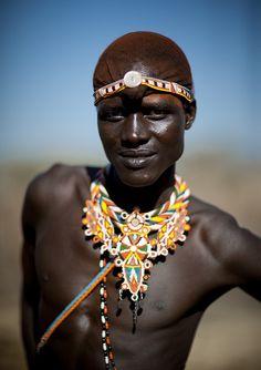 Samburu warrior with beaded ornaments - Kenya