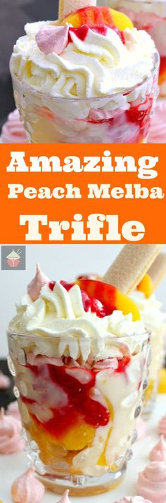 Amazing Peach Melba Trifle! Dreamy layers of Lady Fingers, creamy vanilla pudding, peaches, raspberry sauce, whipped cream and meringue cookies. It can't get better than this! via @lovefoodies