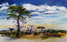 Acrylic Gouache and ink on Fabriano African Theme, South African Artists, Art Oil, Gouache, Acrylics, Wildlife, Watercolor, Ink, Landscape