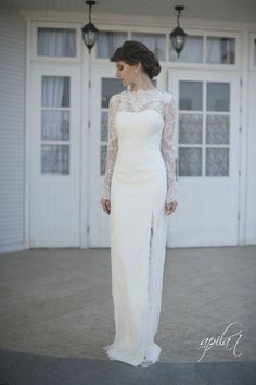Fitted Style Lace Long Wedding Dress with by ApilatCreativeAtelie, $910.00