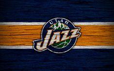 壁紙をダウンロードする 4k, Utah Jazz, NBA, 木肌, バスケット, 洋会議, 米国, エンブレム, バスケットボール部, Utah Jazzのロゴ