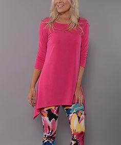 Look at this #zulilyfind! Hot Pink Sidetail Tunic - Women by Lbisse #zulilyfinds
