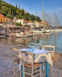 Vacation Destinations, Dream Vacations, International Travel Checklist, Ithaca Greece, Al Fresco Dining, Outdoor Furniture Sets, Outdoor Decor, Greek Islands, Greece Travel