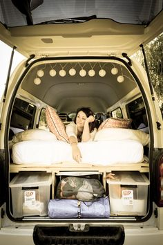 We designed a removable, plywood sleeping platform with storage underneath for our Toyota Hiace van. It's comfy, it's warm and we're delightedthat all the pieces actuallyfit.So…