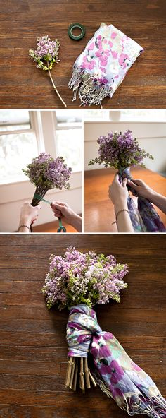 How to make a scarf tied bouquet, an ideal gift for someone who loves both flowers and scarves! Beautiful Flower Arrangements, Beautiful Flowers, Floral Arrangements, Floral Bouquets, Lilac Bouquet, How To Make Scarf, How To Wrap Flowers, Hanging Flowers, Hostess Gifts