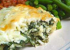 Spinach Rice Casserole, with fresh spinach. Old family recipe...adapted w/ healthy changes