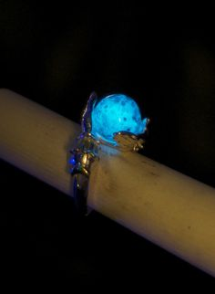 Luminescent Lunar Oracle ring- absorbs sunlight all day and glows at night!