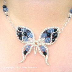 Beautiful Blue Beaded Butterfly