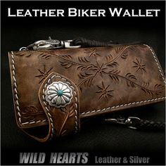 Wedge floral Carved Leather Biker wallet  Genuine Cowhide Custom Handmade WILD HEARTS Leather&Siver http://item.rakuten.co.jp/auc-wildhearts/lw0309/