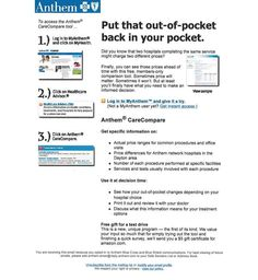 """Put that out-of-pocket back in your pocket."" Cost comparison campaign email for Anthem by Mike Kramer, via Behance"