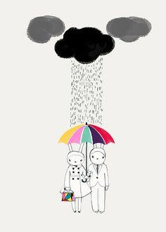 rain, illustration, personnages, homme, femme, couple, amoureux, parapluie, pluie, couleur, nuage, noir, crayon