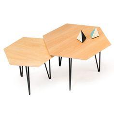 table basse hexagonale style années 50