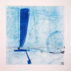 Contemporary Abstract Original Monoprint  At Sea by kbmatter
