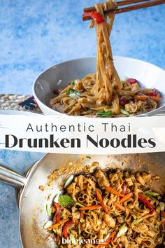Make your best take out right in your own kitchen! This recipe for drunken noodles lets you decide how much spice to add to this spicy noodle dish. Indian Food Recipes, Asian Recipes, Vegetarian Recipes, Cooking Recipes, Healthy Recipes, Ethnic Recipes, Thai Drunken Noodles, Drunken Noodles Recipe Authentic, Authentic Thai Recipes