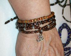 1 Om Adjustable Wood Bracelet Stackers Mix and Match by rykasbeads, $7.00