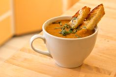 Fiery Roasted Garlic Tomato Soup with Cheese Toasts