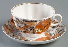 russian tea cup and saucer | Details about Lomonosov Porcelain Cup and Saucer My Garden 2pc
