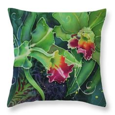 Orchid Series 12 Throw Pillow by Deborah Younglao Batik Art, Silk Art, Abstract Watercolor, Paint Designs, Fabric Painting, Silk Fabric, Orchids, Art Pieces, Textiles