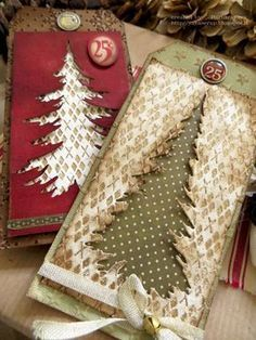 Afbeeldingsresultaat voor https:// cards using tim holtz woodland dies Christmas Paper Crafts, Noel Christmas, Christmas Gift Tags, Xmas Cards, Christmas Projects, Handmade Christmas, Holiday Cards, Vintage Christmas, Christmas Decor
