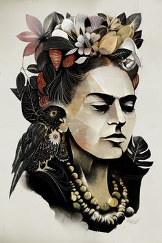Alexey Kurbatov - Frida Kahlo portrait -  I chose this one because its intricate and interesting. Too see all of the different things you have to look carefully and take time look at them all individually.