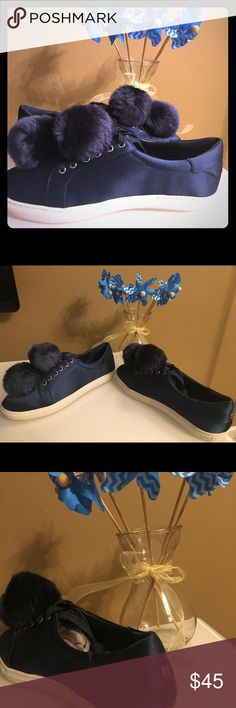 J/Slides Satin Sneakers, Women's, Size 8 These Cash Satin Faux Fur Sneakers look flawless. Their navy Satin color is super attractive and stylish. Ideal for your busy day. Both modern and stylish. It's hard not to fall in love with them! J/Slides Shoes Sneakers