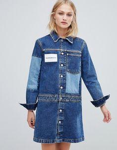 baf0f0546cf Calvin Klein Jeans denim shirt dress with contrast