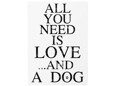 WANDTAFEL Holz ALL YOU NEED IS LOVE AND A DOG Hund von Interluxe via dawanda.com