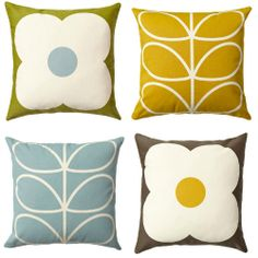 notes to a further excuse: New Orla Kiely Cushion Collection Painting Patterns, Fabric Patterns, Print Patterns, Orla Kiely Cushions, Retro Caravan, Caravan Ideas, Interior Color Schemes, Lounge Furniture, Fabric Wallpaper