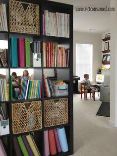 Homeschool family room...my favorite way to organize my homeschool.