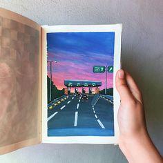 Gouache Painting, Acrylic Painting Canvas, Painting & Drawing, Watercolor Sketchbook, Watercolor Paintings, Hiba Tan, Watercolor Beginner, Psychedelic Drawings, Silhouette Painting