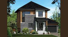 © Planimage - Cette maison à étage de facture urbaine se fait remarquer par la disposition de sa fenestration en façade et par son revêtement de pierres, de briques et de bois aux teintes naturelles.