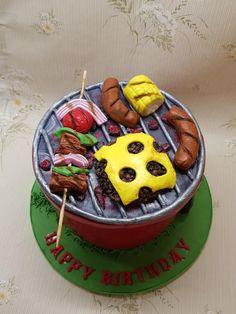 BBQ Birthday cake - cake by The Custom Piece of Cake Fish Cake Birthday, Birthday Bbq, Adult Birthday Cakes, Themed Birthday Cakes, Themed Cakes, Crazy Cakes, Fondant Cakes, Cupcake Cakes, Bbq Cake