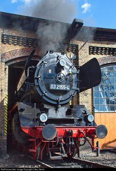 Emerging from a roundhouse, 03 2155 Deutsche Reichsbahn Steam 4-6-2 at Berlin, Germany by J Neu, Berlin
