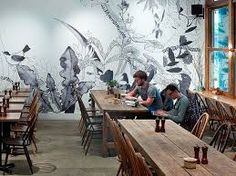 Image result for wine bar french style interior with black and white mural
