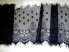 9 23 cm Wide Black Floral Tulle Lace Victorian by FabricBistro