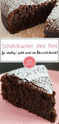 Lust auf einen saftigen Schokokuchen ohne Mehl, der so ungeheuer schokoladig, weich und sündig ist, dass er auch als Dessert durchgeht? Eine Art gâteau au chocolat mit fast flüssigem Kern, der quasi auf der Zunge zergeht, und noch dazu sehr schnell zuzubereiten ist? Dann hätte ich den perfekten Schokoladenkuchen für euch. #schokokuchen #ohnemehl #ohnenüsse #schokolade #backenmachtglücklich