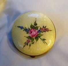 Vintage yellow guilloche enamel compact floral bouquet