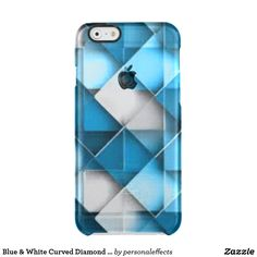 Blue & White Curved Diamond Shape Pattern design Clear iPhone 6/6S Case blue, white, pattern, print, design, diamond shape pattern, shapes, diamond shapes